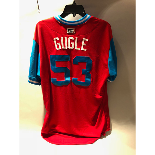 "Photo of Philadelphia Phillies 2018 Little League Classic Game-Used Jersey - Yacksel ""Gugle"" Rios - 8/19/2018"