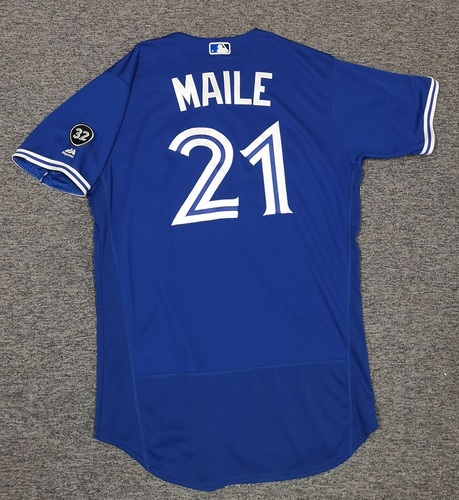Photo of Authenticated Game Used Jersey - #21 Luke Maile (August 11, 2018). Size 46.