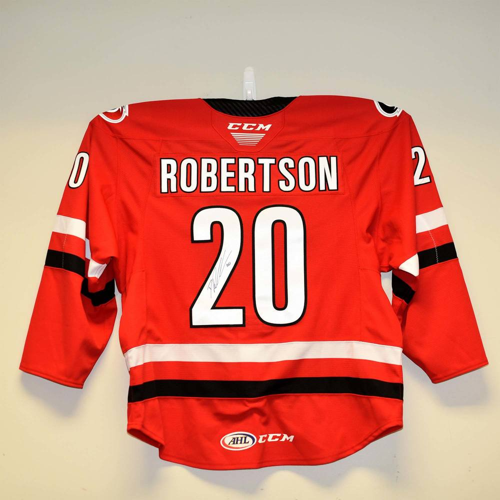 Charlotte Checkers 2019 Calder Cup Finals Game 1 Jersey Issued to and Signed by #20 Dennis Robertson
