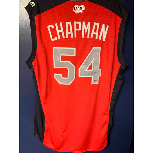 Photo of Aroldis Chapman 2019 Major League Baseball Workout Day Autographed Jersey