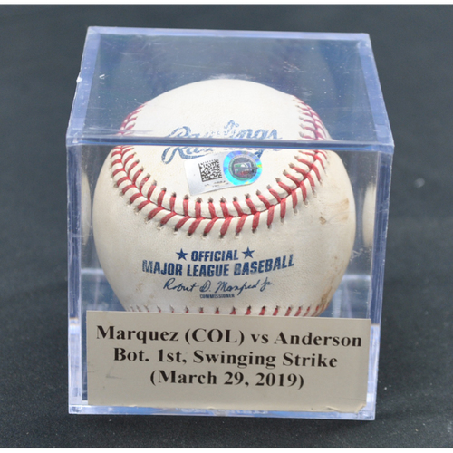 Photo of Game-Used Baseball: German Marquez (COL) vs Brian Anderson, Bot. 1st, Swinging Strike (March 29, 2019) - Curtis Granderson Caught Stealing