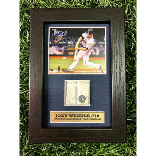 Photo of Rays Baseball Foundation: Joey Wendle Game Used Base Swatch Framed Piece