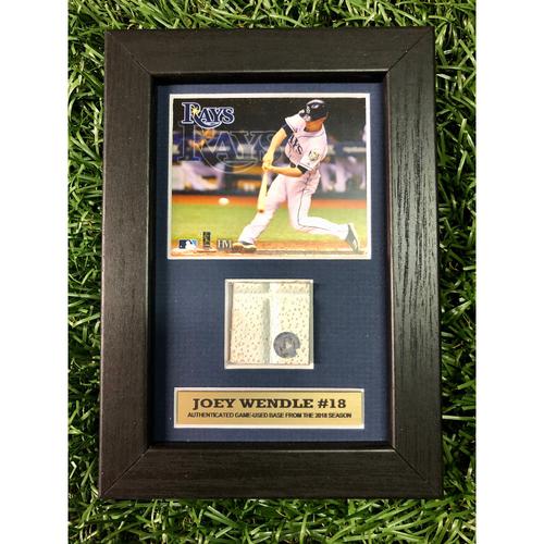 Photo of Rays Baseball Foundation: Joey Wendle Game Used Base Swatch Framed Piece
