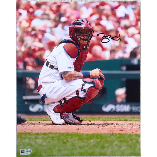 Photo of Cardinals Authentics: Yadier Molina Squatting Autographed Photo