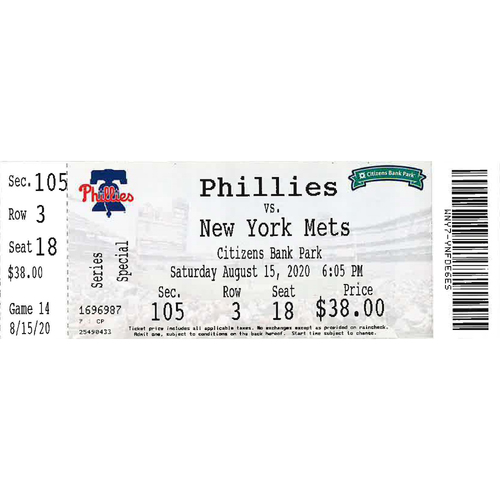 Photo of August 15, 2020 Ticket: Phillies vs. Mets