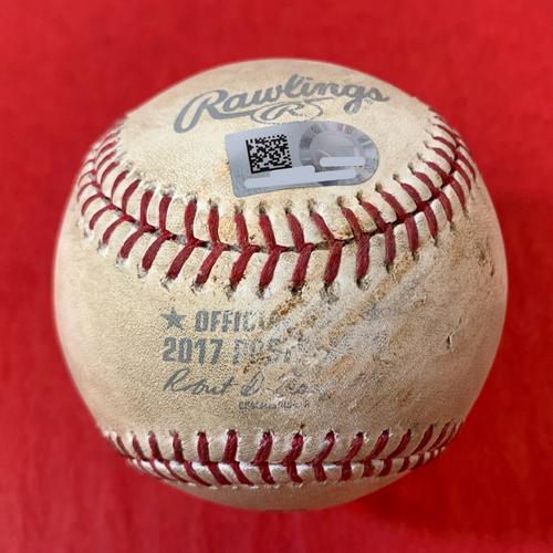 Photo of Game-Used Baseball - Yasiel Puig Foul Ball vs. Zack Greinke (90 MPH Changeup) - NLDS Game 3  Dodgers @ D-backs 10/9/2017