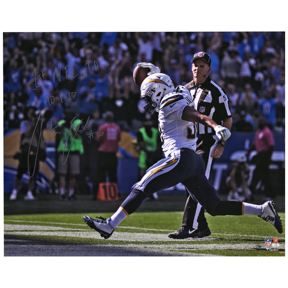 Austin Ekeler Los Angeles Chargers 16'' x 20'' Signed & Inscribed First Touchdown Photo - Limited Edition #1/30