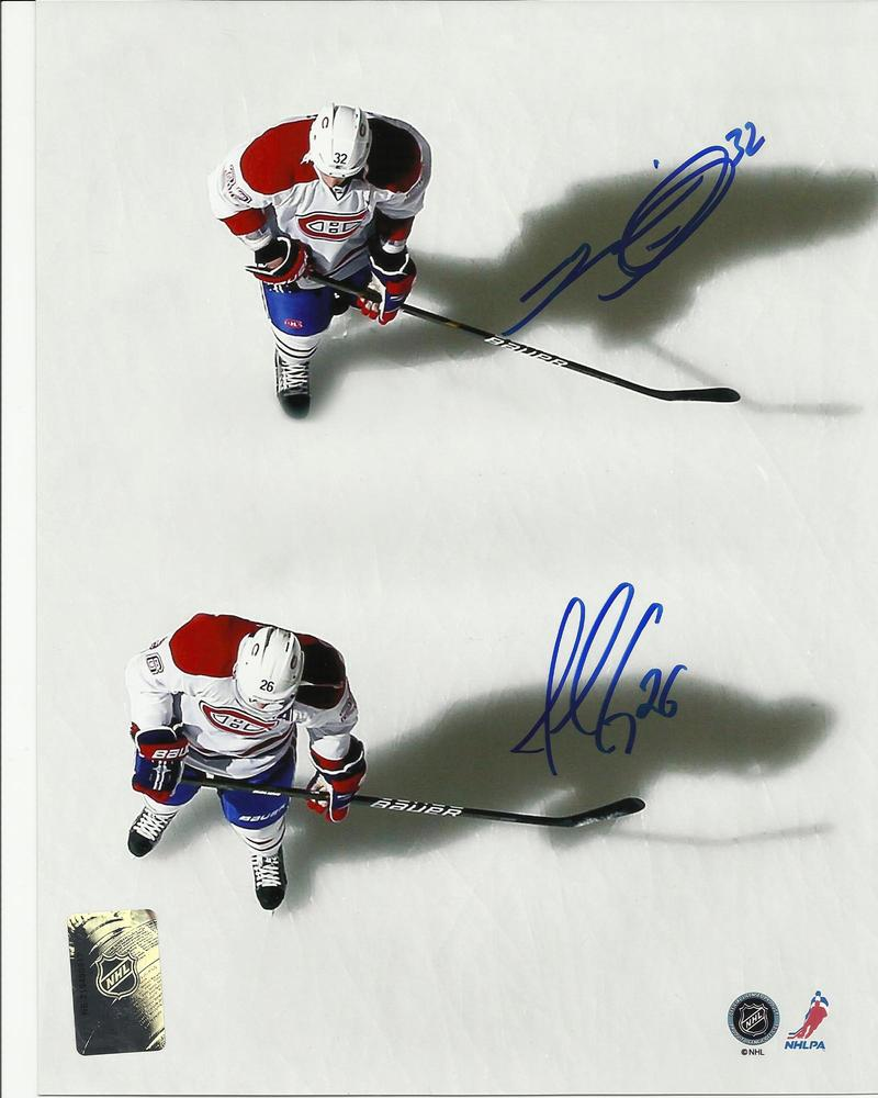 Josh Gorges & Travis Moen DUAL Signed Montreal Canadiens SHADOWS 8x10