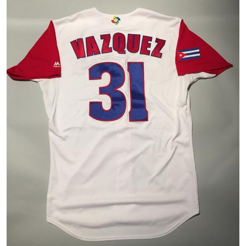 2017 WBC: Cuba Game-Used Home Jersey, Vazquez #31