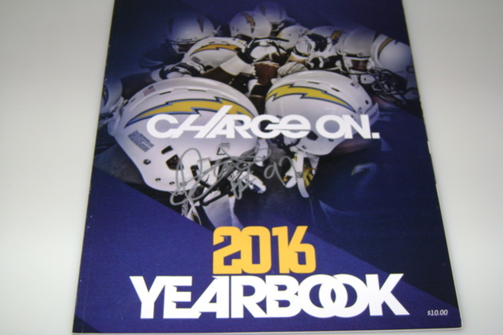 CHARGERS - JERRY ATTAOCHU SIGNED 2016 CHARGERS YEARBOOK