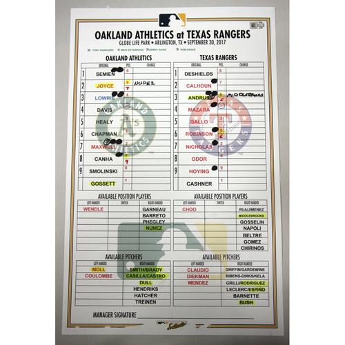 Photo of Lineup Card - 9/30/17 Oakland Athletics at Texas Rangers