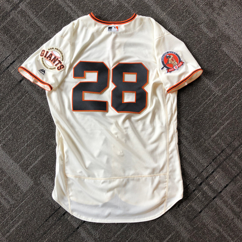 Photo of 2018 San Francisco Giants - #25 Number Retirement Game - Game Used Jersey worn by #28 Buster Posey - jersey features a commemorative patch celebrating #25 Number Retirement on August 11,2018 - Size 46