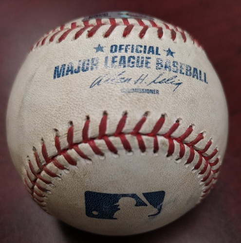 Photo of Authenticated Game Used Baseball - Javier Baez Hit by Pitch against Mark Buehrle (September 9, 2014 vs Chicago Cubs). Top 3.