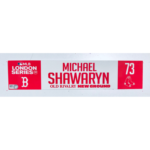 Photo of 2019 London Series - Game Used Locker Tag - Michael Shawaryn, New York Yankees vs Boston Red Sox - 6/30/2019