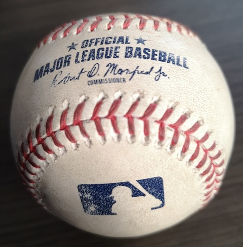 Photo of Authenticated Game Used Baseball: Single by Reese McGuire against  (Aug 27, 19 vs ATL). Bottom 5.