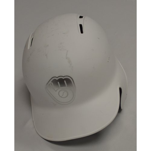 "Photo of Ryan ""OCHO"" Braun Milwaukee Brewers Game-Used 2019 Players' Weekend Helmet"