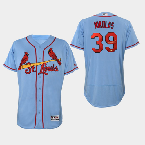Photo of Miles Mikolas Autographed Cardinals Blue Replica Jersey