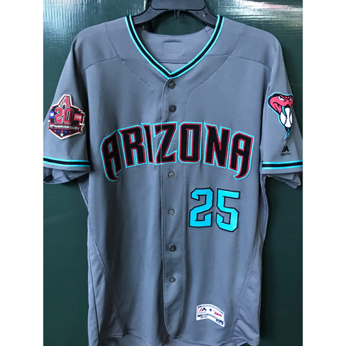 Photo of Archie Bradley Game-Used Road Alternate Jersey with commemorative 20th Anniversary Patch, Size 44 -- 9/11/18 vs. Rockies