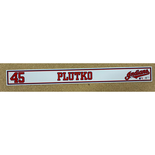 Photo of Adam Plutko 2020 Spring Training Game-Used Locker Name Plate
