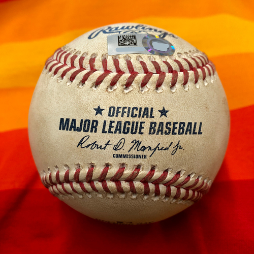 Photo of Opening Day 2020 Game-Used Baseball: Anthony Misiewicz to Martin Maldonado (Ball and Foul)