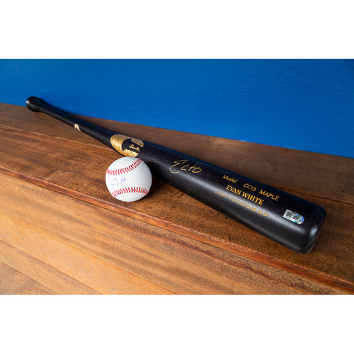 Photo of Evan White Autographed Bat & Autographed Ball