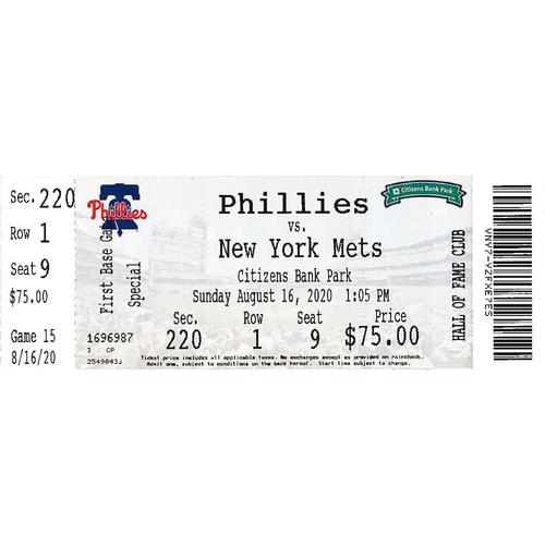 Photo of August 16, 2020 Ticket: Phillies vs. Mets