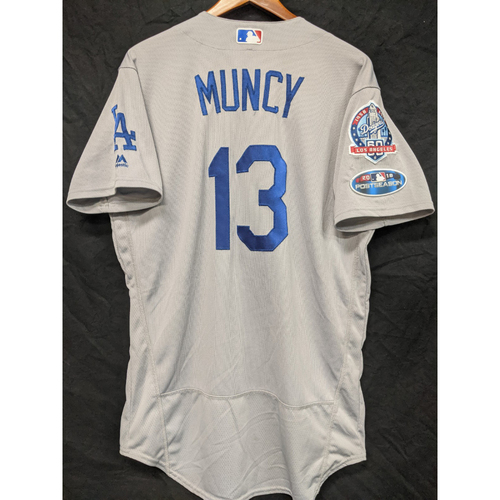 Max Muncy Game-Used Road Postseason Jersey from Game 7 of the 2018 NLCS