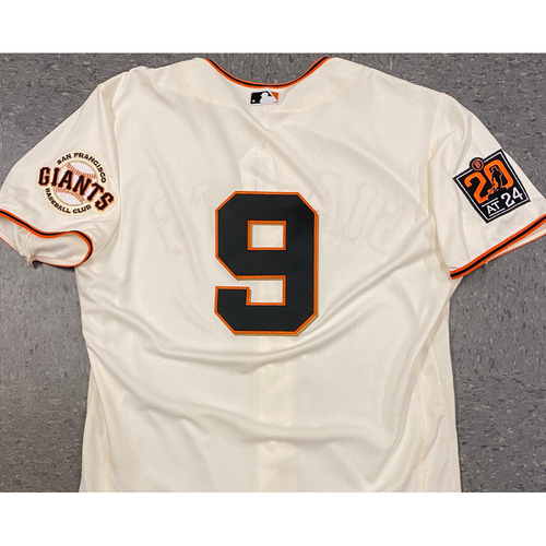 Photo of 2020 Game Used Home Cream Jersey worn by #9 Brandon Belt on 7/30 vs. SD (0-2, 3 BB) - Size 48