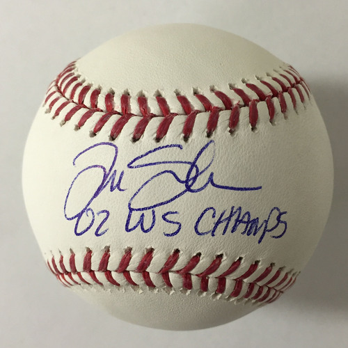 "Photo of Tim Salmon Autographed ""02 WS Champs"" Baseball"