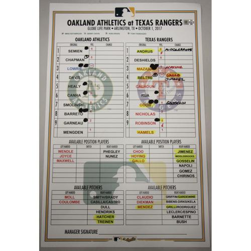 Photo of Lineup Card - 10/1/17 Oakland Athletics at Texas Rangers