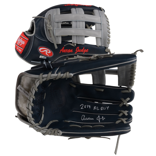 Photo of Aaron Judge New York Yankees Autographed Rawlings Game Model Glove with 2017 AL ROY Inscription