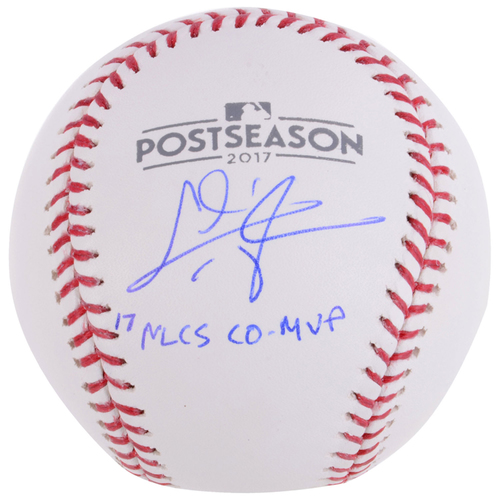 Photo of Chris Taylor Los Angeles Dodgers Autographed 2017 Postseason Logo Baseball with 17 NLCS CO-MVP's Inscription