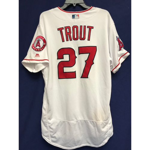 Photo of Mike Trout Game-Used 2018 Home Jersey