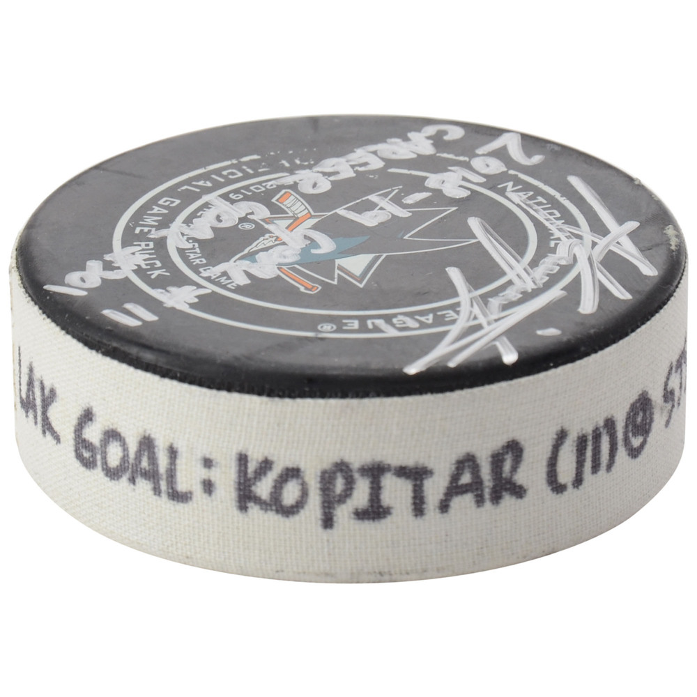 Anze Kopitar Los Angeles Kings Autographed Game-Used Goal Puck from January 7, 2019 @ San Jose Sharks with Multiple Inscriptions