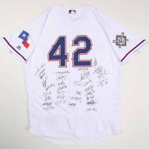 Photo of 2019 Jackie Robinson Day Jersey - Texas Rangers Team Autographed Jersey