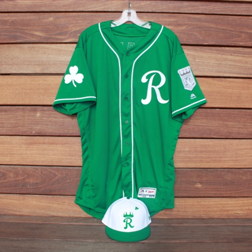 Photo of Team-Issued Saint Patrick's Day Jersey and Game-Used Cap: Xavier Fernandez (Jersey Size 48 - Cap Size 7 5/8)