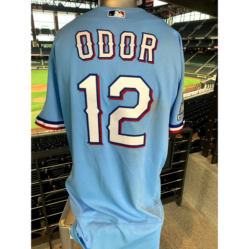 Rougned Odor Game-Used Powder Blue Jersey - 1st Time Worn (7/26/20)