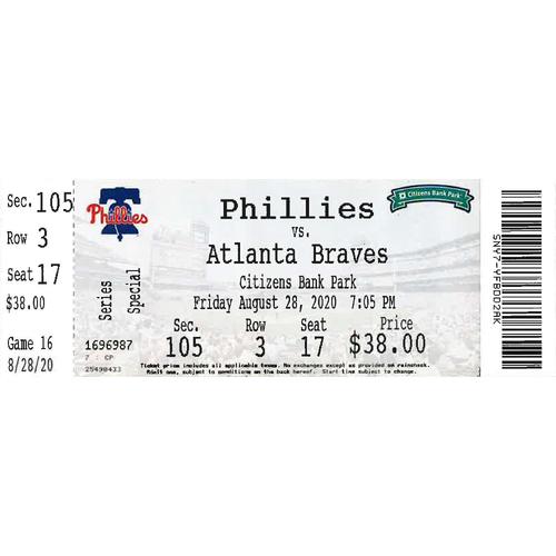 Photo of August 28, 2020 Ticket(Scott Kingery Walk-Off HR): Phillies vs. Braves