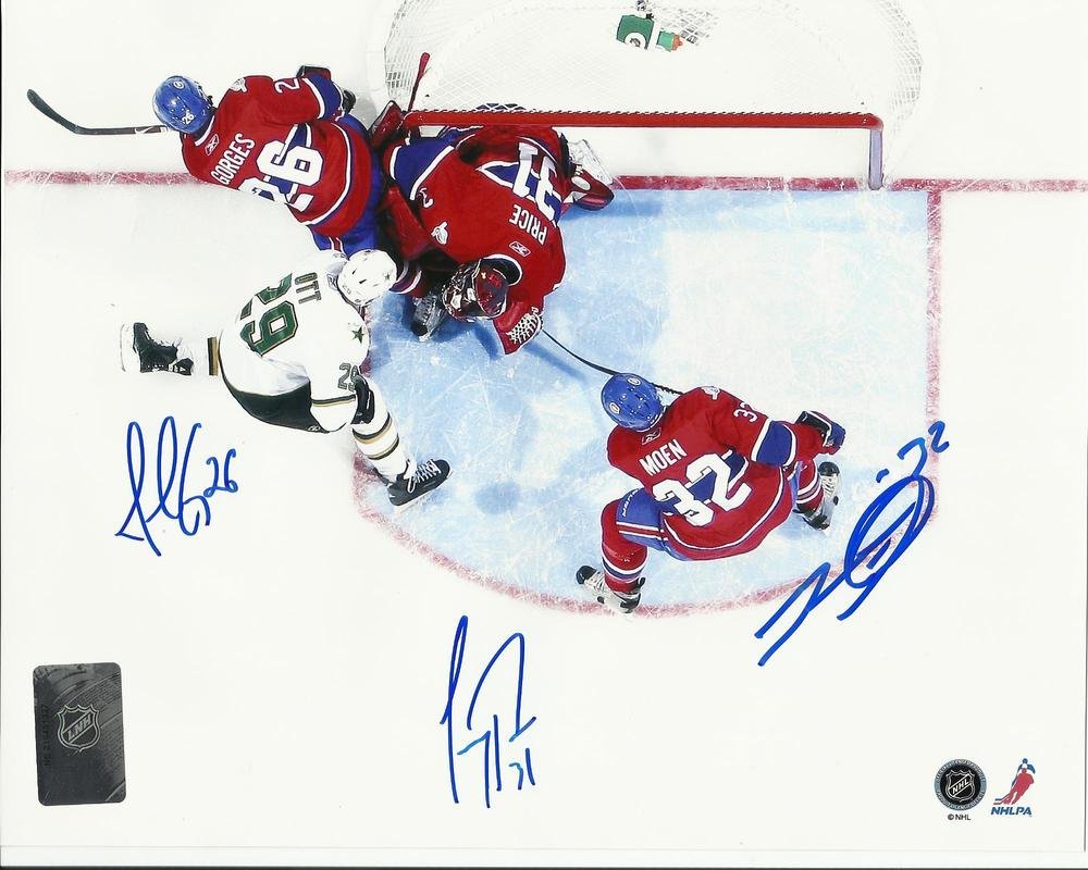 Carey Price, Josh Gorges & Travis Moen TRIPLE Signed Montreal Canadiens AERIAL 8x10