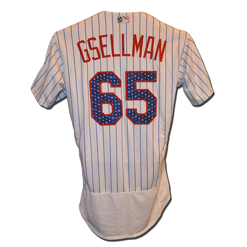Photo of Robert Gsellman #65 - Team Issued White Pinstripe July 4th Jersey - 2017 Season