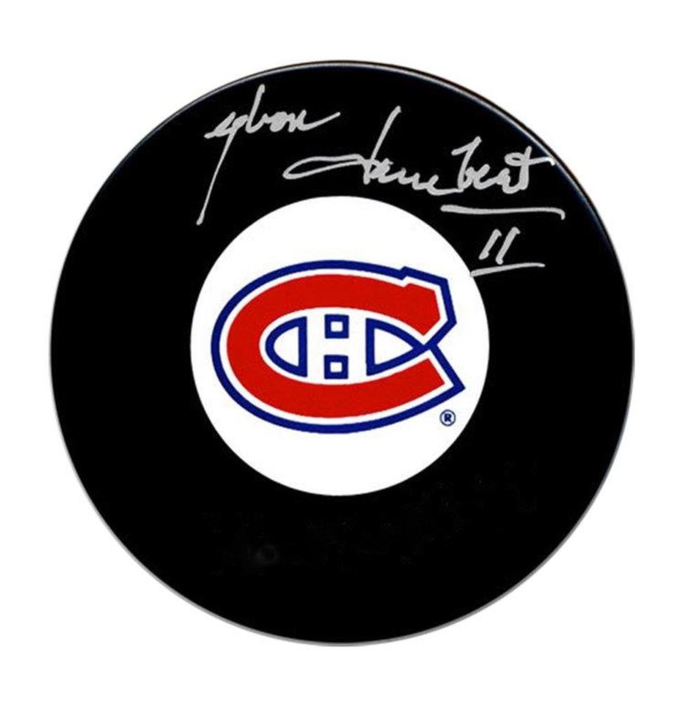 Yvon Lambert Signed Puck Canadiens