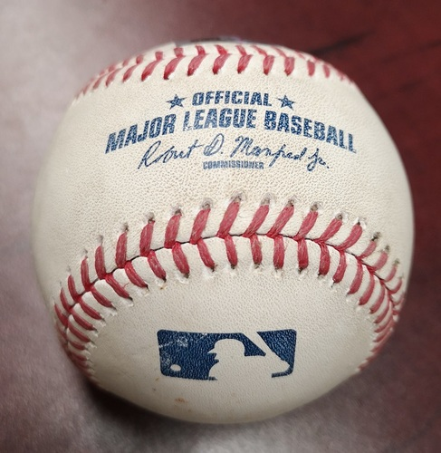 Photo of Authenticated Game Used Baseball - Foul Ball by Ryan Howard against R.A. Dickey (July 29, 2015 vs Philadelphia Phillies). Top 2.