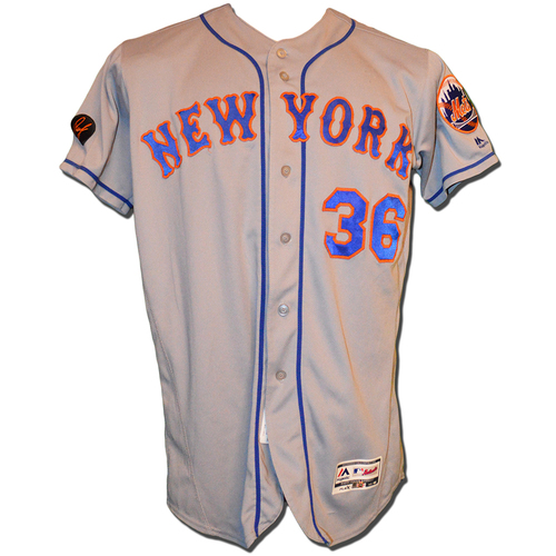 Photo of Mickey Callaway #36 - Game Used Road Grey Jersey - Mets vs. Nationals - 9/21/18