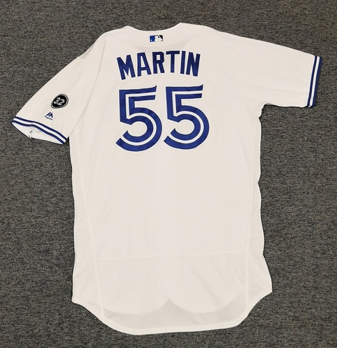 Photo of Authenticated Game Used Jersey - #55 Russell Martin (June 8, 2018: 2-for-3 with 1 HR, 1 Run, 2 RBIs, 1 BB. July 20, 2018: 1-for-5 with 1 HR, 2 Runs, 1 RBI). Size 46.