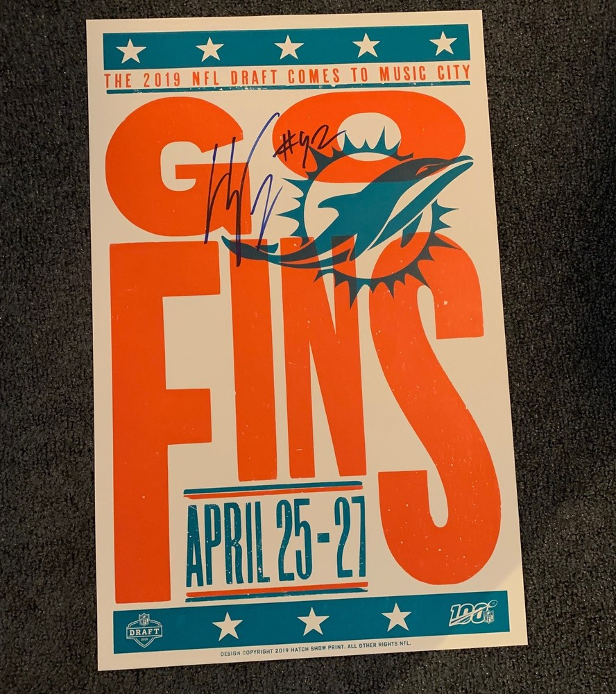 NFL - Miami Dolphins Christian Wilkins Signed Limited Edition Original Hatch Show Print 2019 NFL Draft Poster 14