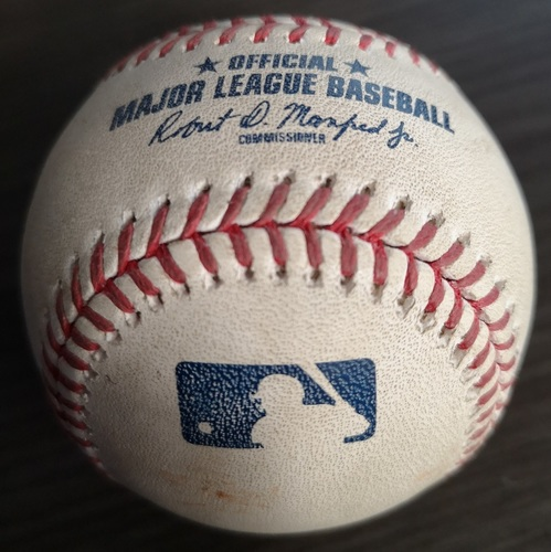 Photo of Authenticated Game Used Baseball: Double by Matt Joyce against Tim Mayza (Aug 27, 19 vs ATL). Top 6.
