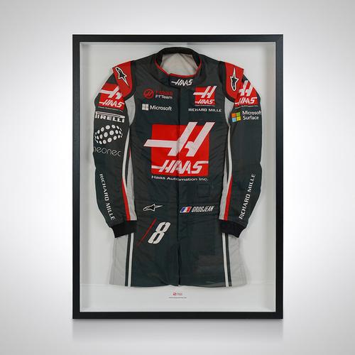 Photo of Romain Grosjean 2017 Framed Race-worn Race Suit - Haas F1 Team