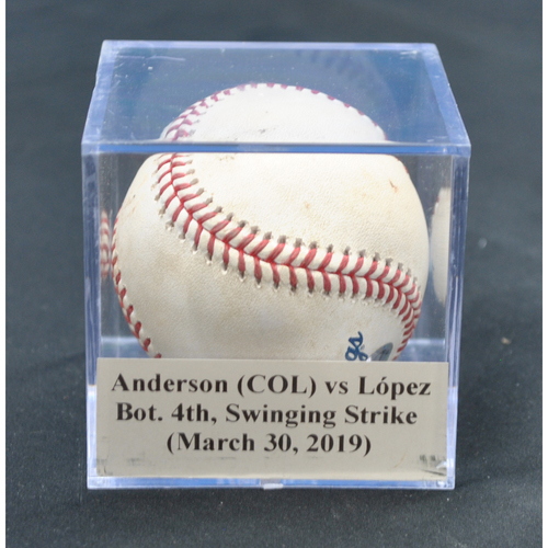 Photo of Game-Used Baseball: Tyler Anderson (COL) vs Pablo López, Bot. 4th, Swinging Strike (March 30, 2019)