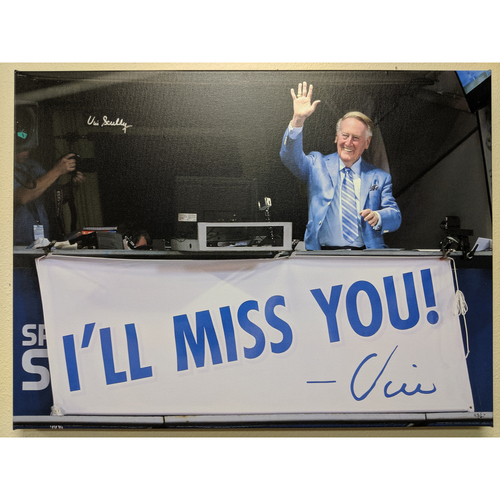 "Photo of Vin Scully Autographed ""I'll Miss you"" Photo Canvas"