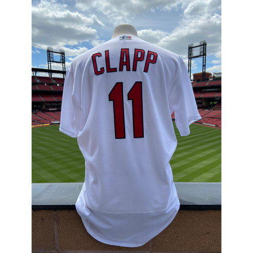 Photo of Cardinals Authentics: Game Worn Stubby Clapp Home White Cardenales Jersey